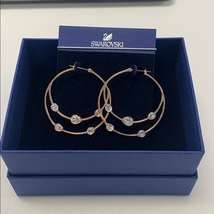 18k Rose gold plated  Swarovski hoop earrings
